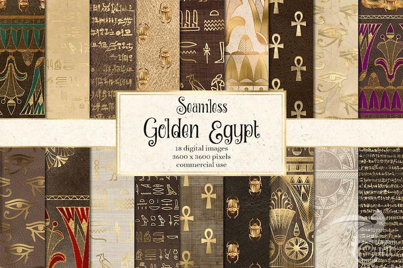 Golden Egypt - Egyptian Digital Paper, Hieroglyphics Scrapbook Paper, Papyrus Vintage Antique Egypt Patterns, Digital Gold Foil Leaf Overlay photo
