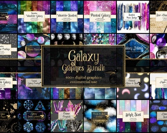 85% OFF Galaxy Graphics Bundle, celestial space and universe clipart and digital paper graphics pack, discount clip art and digital paper