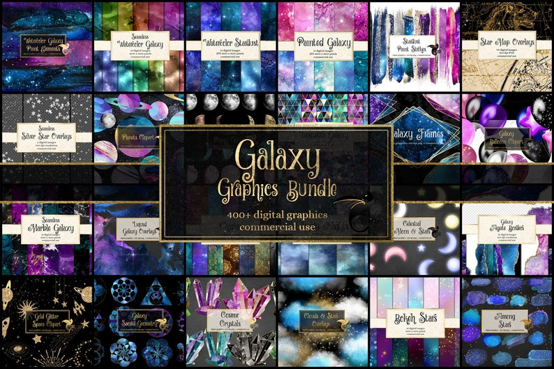 85% OFF Galaxy Graphics Bundle, celestial space and universe clipart and digital paper graphics pack, discount clip art and digital paper photo