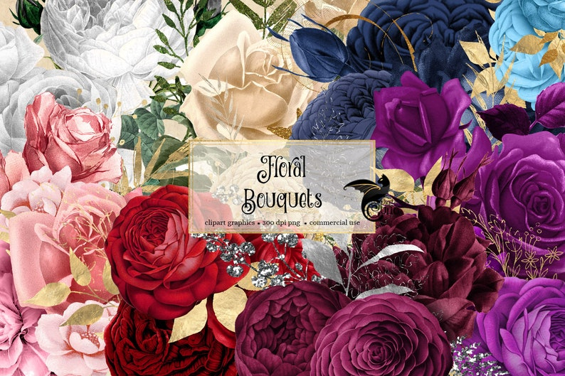 167 Floral Bouquets Clip Art, digital instant download painted watercolor flower png embellishments rose bouquets, gold glitter roses photo