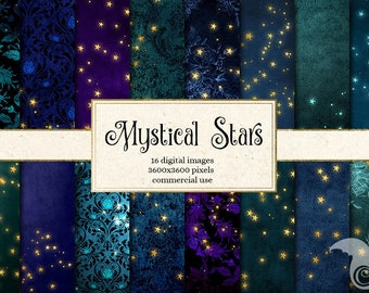 Mystical Star Backgrounds, Golden starry night digital papers, printable scrapbook paper star magic fantasy texture pack gold foil glow
