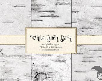 White Birch Bark Digital Paper - Birch Tree Backgrounds, White Wood Textures, Wedding Paper, Wedding Backgrounds, digital Scrapbook paper