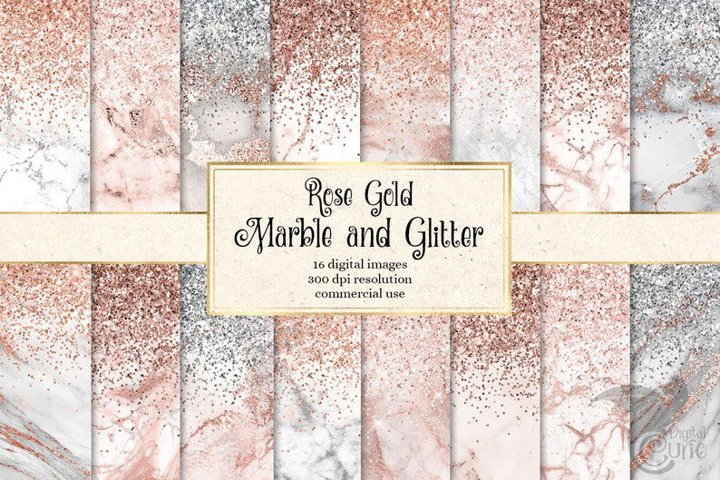 Rose Gold Marble and Glitter Digital Paper white and silver image 0