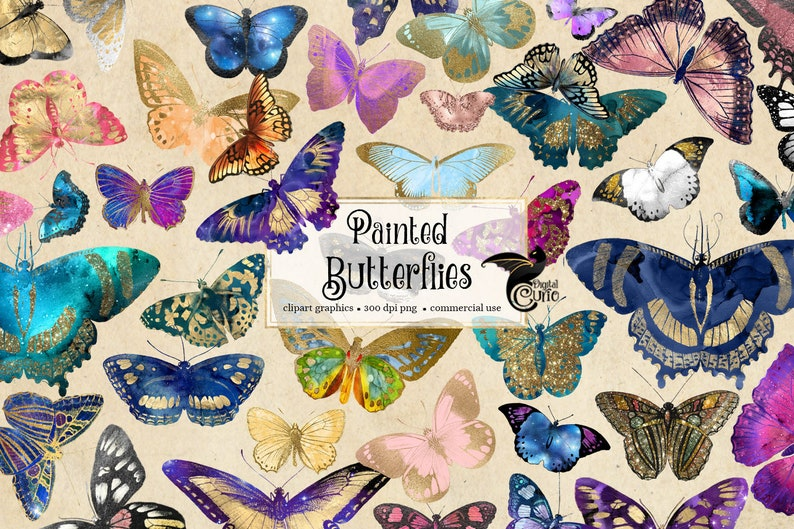 Painted Butterflies Clipart, gold foil butterfly clipart, butterfly illustrations, PNG graphics, scrapbook embellishments commercial use photo