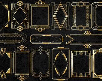 Gold Art Deco Frames Clipart - vintage retro frame PNG and vector clip art instant download for commercial use