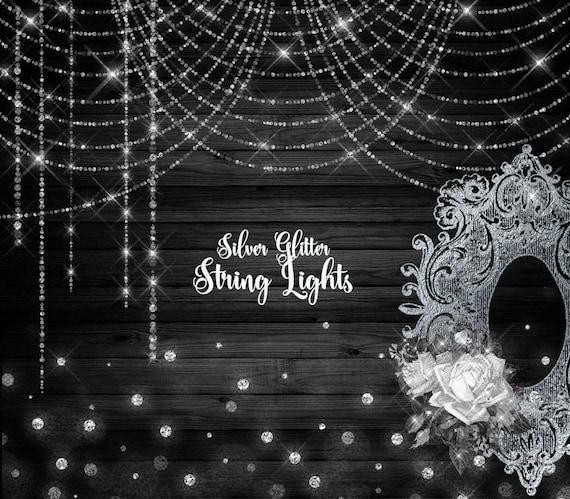 Silver Glitter String Lights Digital Overlay PNG Bokeh Fairy