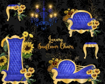 Luxury Sunflower Chairs Clipart, vintage flower throne clip art, antique furniture, baby shower, chaise lounge chandelier png graphic