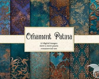 Ornament Patina Digital Paper, Aged Copper backgrounds, patina textures, damask ornament printable scrapbook paper digital instant download