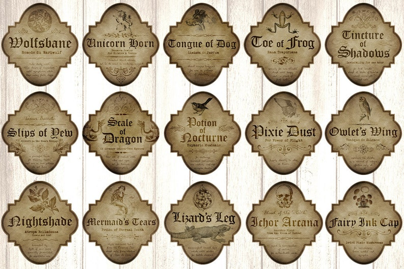 Witch Apothecary Labels Magick Potion Ingredient Labels image 0