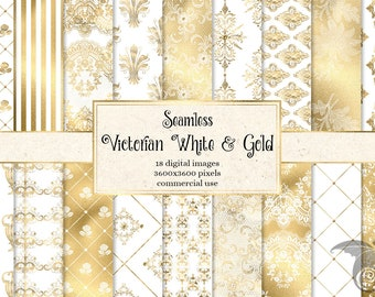 Victorian White and Gold Digital Paper, ornate seamless patterns with damask ornaments and printable gold foil for commercial use