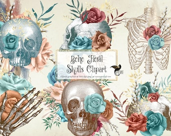 Boho Floral Skull Elements, antique illustrations of human skulls and flowers PNG clipart instant download for commercial use