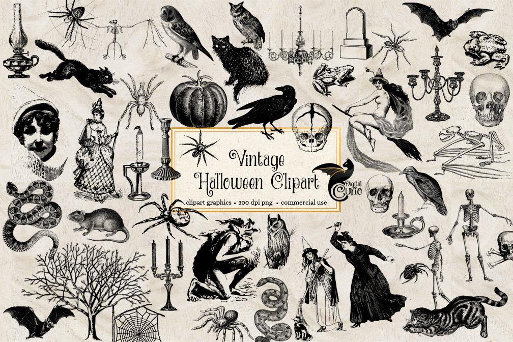 Vintage Halloween Clipart antique Halloween clip art | Etsy