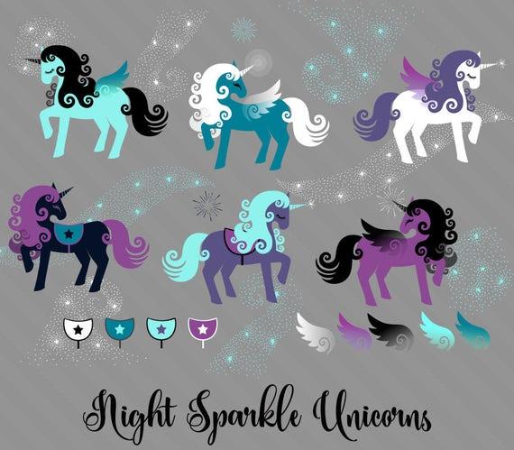 Night Sparkle Unicorns Clipart, cute unicorn vectors, unicorn birthday clip  art, magic purple pegasus png instant download commercial use