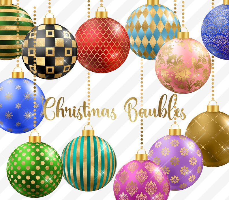 Christmas Baubles.Christmas Baubles 2 Clipart Christmas Balls Christmas Ornaments Ball Ornaments Red Green And Gold Christmas Tree Decoration Graphics
