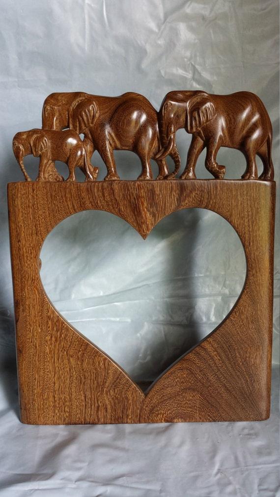 Herz-Bilderrahmen mit Elefantenfamilie | Etsy