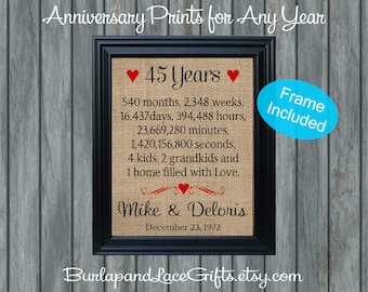 Personalized 45th Anniversary Gift, Weddings, Gift to Husband, Gift for Wife, Gift to Wife, Gift to Grandparents, Gift to Parents (207-45a)