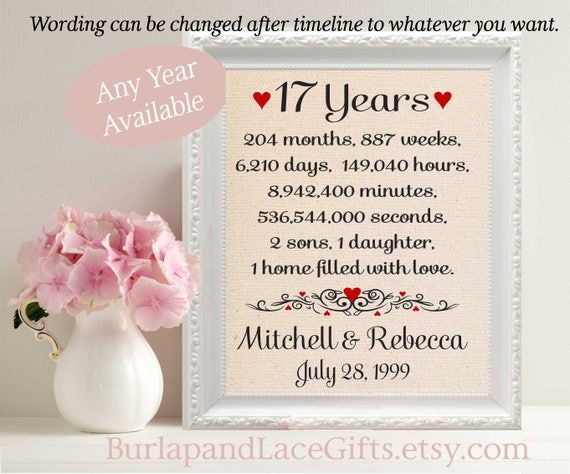 Gifts For 17th Wedding Anniversary: Items Similar To 17th Anniversary Gift To Wife Anniversary