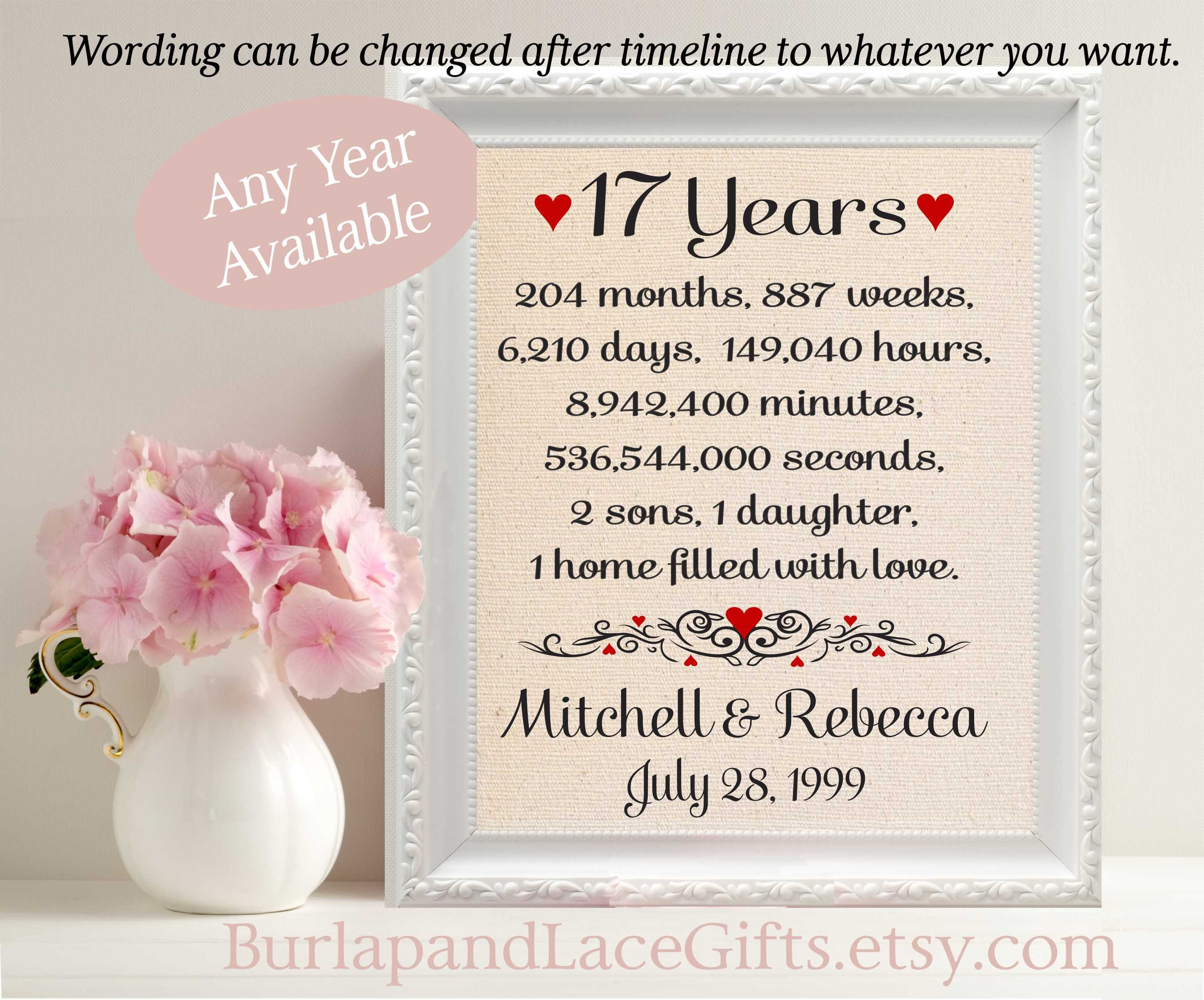 Gifts For 17th Wedding Anniversary: 17th Anniversary Gift To Wife Anniversary Gift To Husband