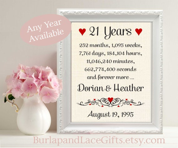 21 Year Wedding Anniversary Gift: Items Similar To 21st Wedding Anniversary Gift For Wife