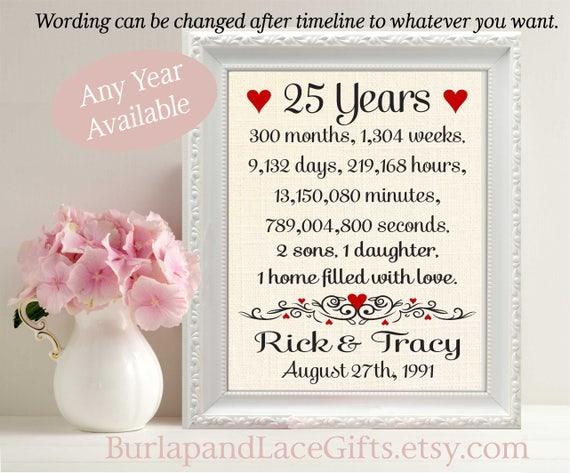 25 Year Wedding Anniversary Gift 25th Wedding Anniversary Etsy