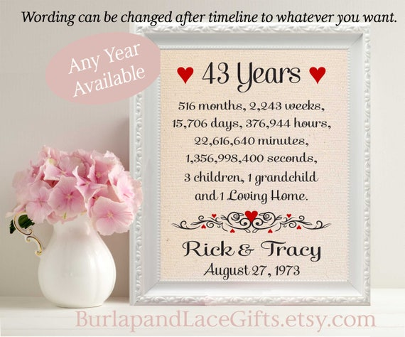 What To Gift Wife On First Wedding Anniversary: 43rd Anniversary Gift For Wife 43rd Wedding Anniversary