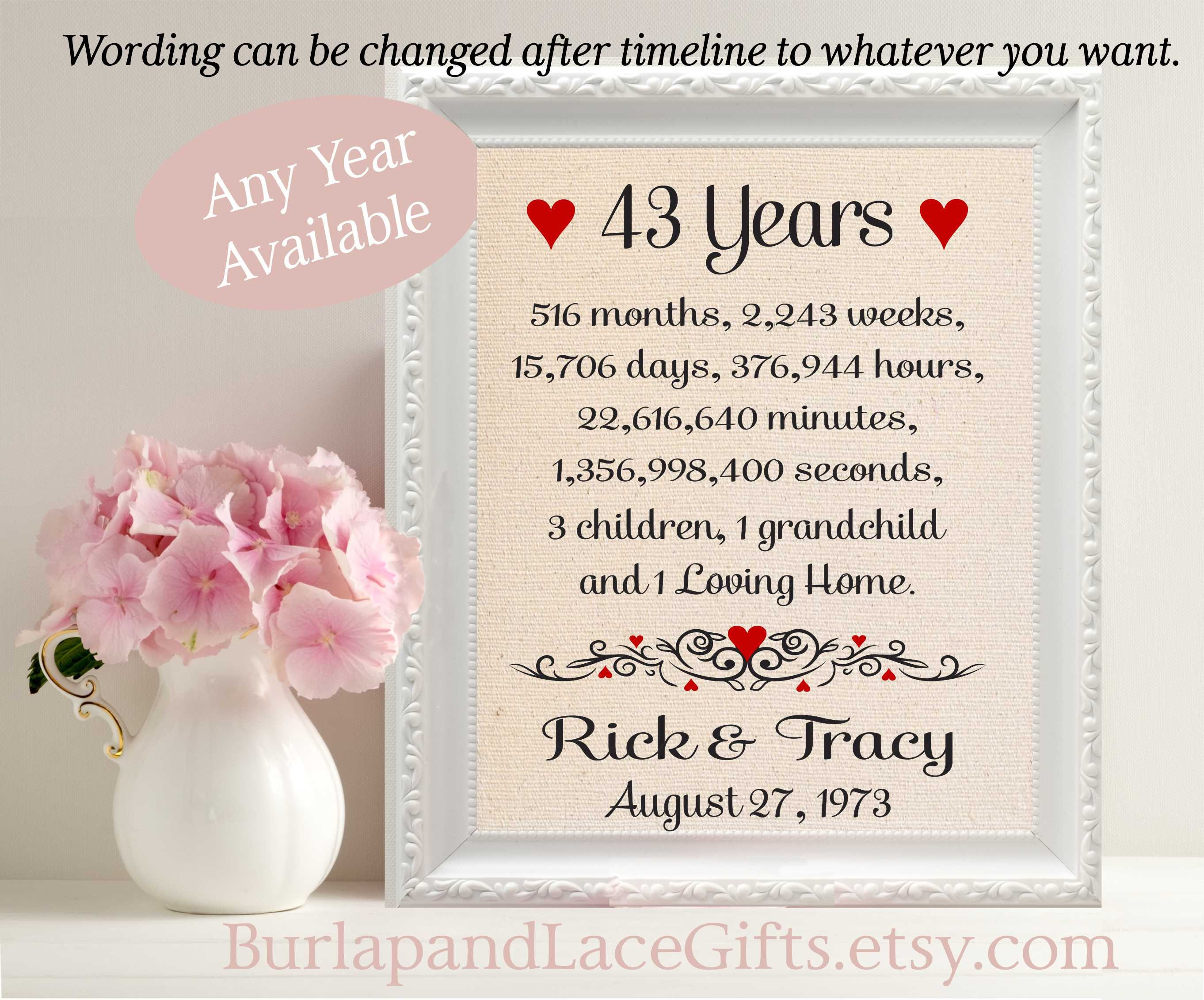 Wedding Gift For Your Wife: 43rd Anniversary Gift For Wife 43rd Wedding Anniversary