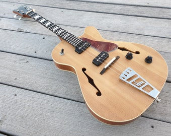 """Venetian Cut Jazzy - Baritone semi-hollow body electric ukulele. 19"""" scale. Double P90 pickups. Handmade to order. Gig Bag included."""