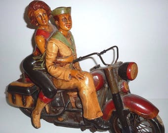 "WWII Harley Davidson Motorcycle Sculpture Navy Soldier w/ Girlfriend Huge 20"""