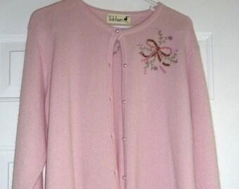 Tulchan XL Cardigan Pink Wool Angora Sweater Button Down Embroidery