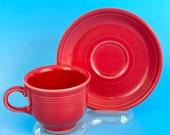 FIESTA Fiestaware Tea Cup Saucer Set of 2 Lot 4 Pcs SCARLET RED Homer Laughlin Vintage Backstamp