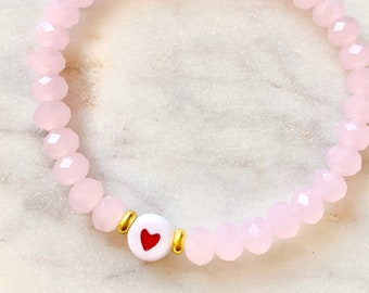 Beaded heart stretch bracelet