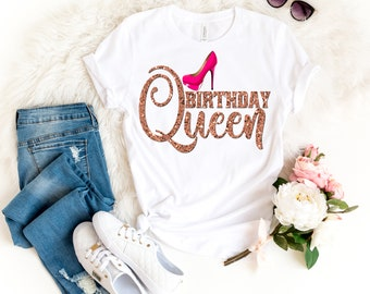 e01e37d2 Birthday Queen Shirt Women Faux Rose Gold Sexy Pink Stiletto Shoe Matching Birthday  Party Milestone 21 24 25 29 30 35 39 40 45 49 50 55 60