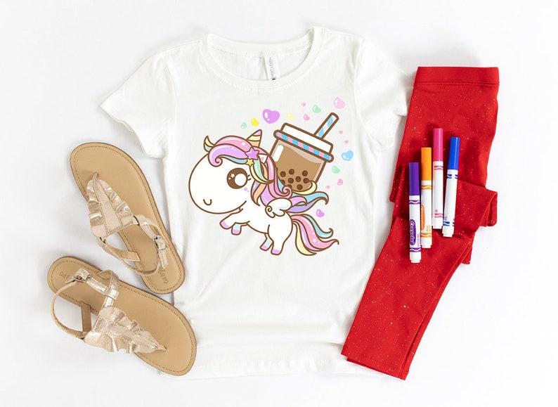 Boba Tea Unicorn Pegasus Shirt Kids /& Adults,Cute Unicorn Gifts Birthday,Rainbow,Kawaii T-shirts,Boba Shirt,Boba Milk Tea Bubble Pearl Tea