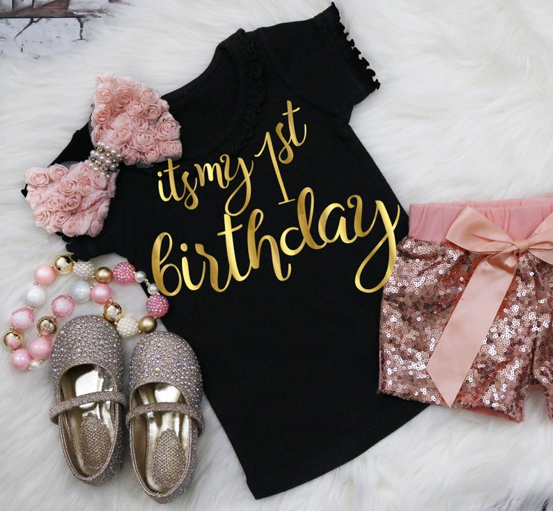 Baby Its My 1st Birthday Girl Shirt First 1 Hashtag Faux Gold Script Matching Party Gift Photos Milestone Daughter Niece Granddaughter One