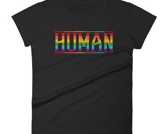 Gay Pride Shirt Human Rights Rainbow Equality Ally Genderless LGBT Women Lesbian t-shirt