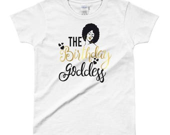 Black Girl Magic Shirt The Birthday Goddess Queen Party Gift Entourage Squad Faux Gold Afro