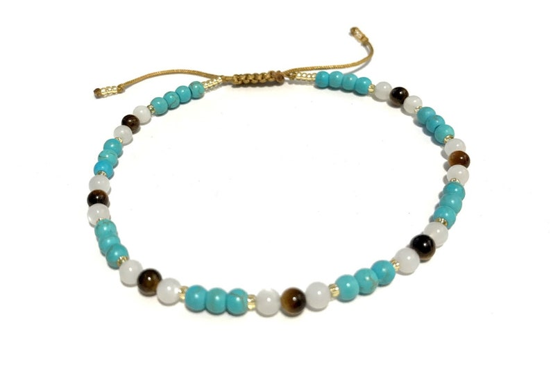 Karma Gems Turquoise Moonstone And Tigers Eye Healing Reiki Anklet Adjustable