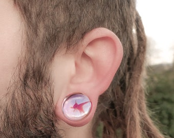 Ocean Theme Goldfish Plugs Acrylic Tunnels Ear Gauge Expander Body Piercing Jewelry a Pair 8 Sizes
