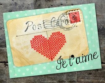 Valentine/'s Day Card  Love card hand-cut 12cm x 17cm