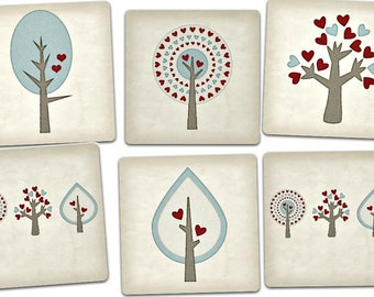 Set of 6 cards Trees original designs with envelopes, 15cm x 15cm