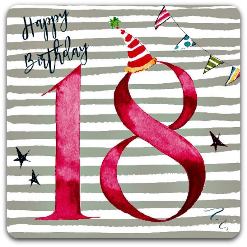 18 Happy Birthday Years Old Card 15cm X