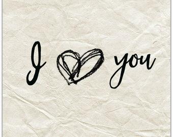 Greeting 'I love you' original design handmade 15cm x 15cm