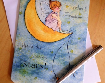 Greeting card ' A face without freckles is like a sky without stars' 15 cm x 21cm made hand