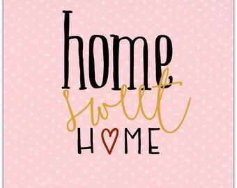 Double 'Home Sweet Home' original design handmade 15cm x 15cm