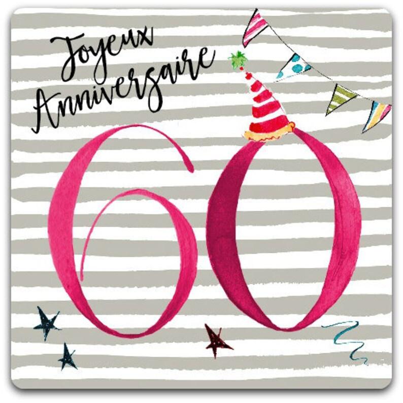 60 Happy Birthday Years Old Card 15cm X