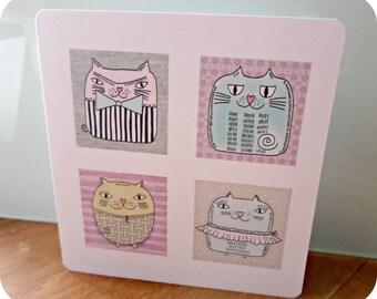 Greeting card '4 cats' original design handmade 15cm x 15cm
