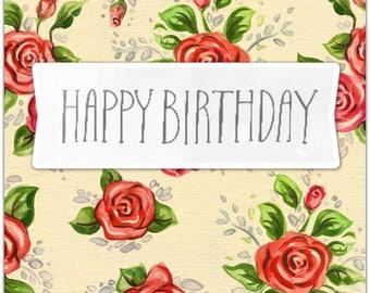 Greeting card - Happy Birthday - handmade 21cm x 10cm