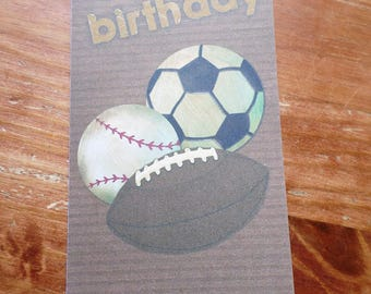 Sports Happy Birthday handmade card 21cm x 10cm