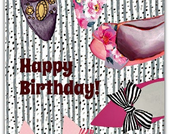 Shoes Happy Birthday hand made card - 12.5cm x 17.5cm (5'' x 7'') with envelope.