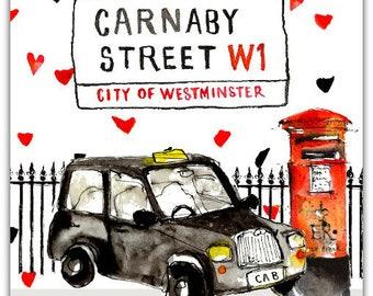 London Carnaby Street original greeting card handmade 15cm x 15cm